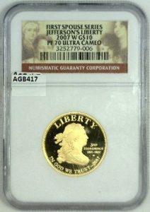 2007 W Jefferson S Liberty Pf 70 Ultra Cameo First Spouse